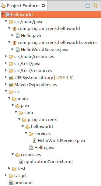 Spring HelloWorld Example Using Eclipse and Maven